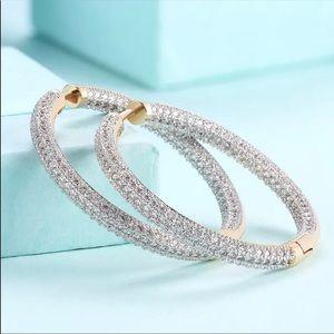 NWOT Gold plated Swarovski Crystal Hoop Earrings
